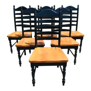Vintage Set of Ladderback Dining Chairs/Set of Six For Sale