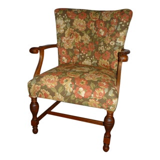 Vintage Walnut Tufted Chair For Sale