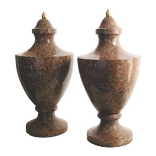 19th Century Neoclassical Granite Urns - a Pair For Sale