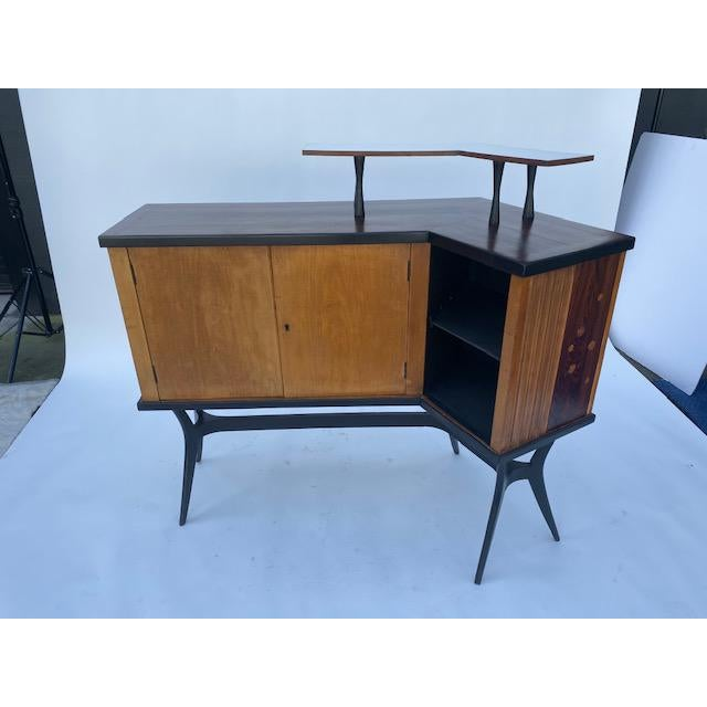 Wood Late 1950's Mid Century Inlaid Bar For Sale - Image 7 of 11