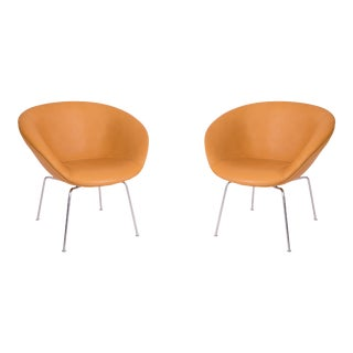 Arne Jacobsen Fritz Hansen Leather Pot Chairs - a Pair For Sale