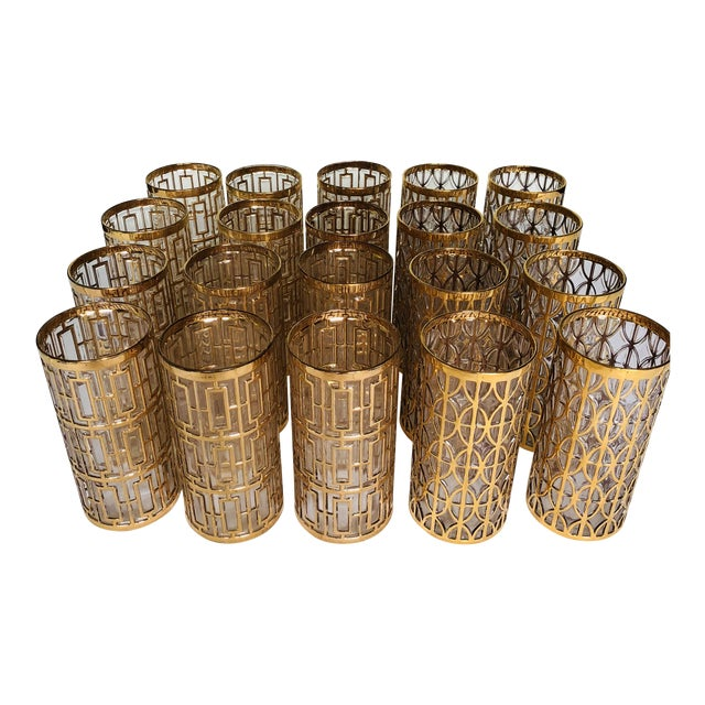 1960s Hollywood Regency 22k Gold Imperial Glass Tumblers - Set of 20 For Sale