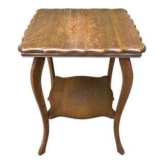 Antique Scalloped Edged Oak End Table For Sale
