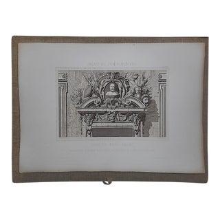 Large Antique Architectural Engraving-Palais de Fontainebleau-Architectural Details For Sale