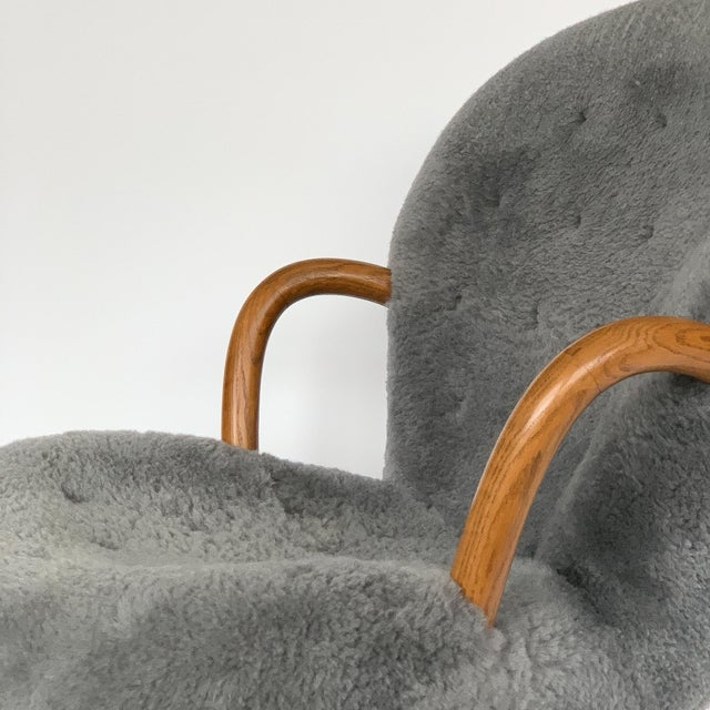 Philip Arctander for Paustian Gray Sheepskin Upholstered Lounge Chairs - a Pair For Sale - Image 9 of 13
