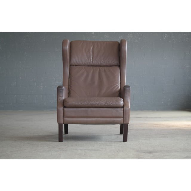 Borge Mogensen Style Leather Wingback Chair - Image 4 of 8