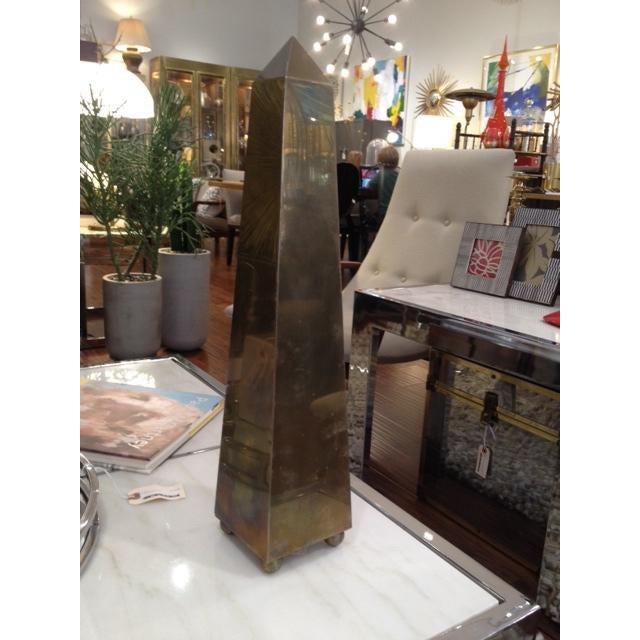 Maitland - Smith Vintage Large 1970's Brass Obelisk For Sale - Image 4 of 6