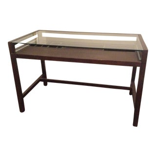 Crate & Barrel Ebony/Espresso Finish Wood and Glass Top Desk For Sale