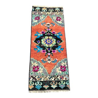 Vintage Turkish Floral Design Door Mat Rug - 1′3″ × 3′2″ For Sale