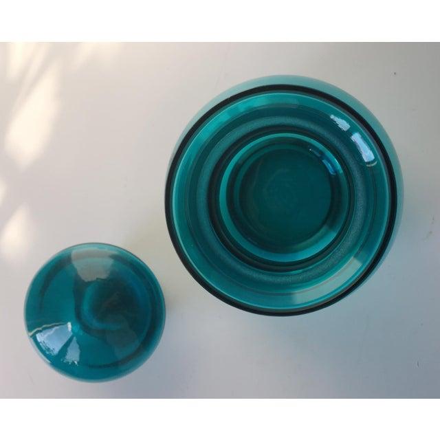 Vintage Blenko Turquoise Glass Decanter/Jar - Image 5 of 7