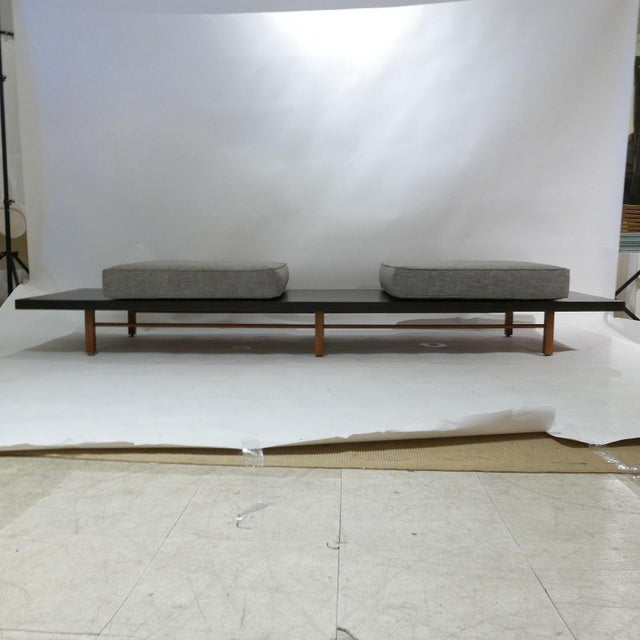Wood Milo Baughman for Thayer Coggin Low Table or Gallery Bench With Cushions For Sale - Image 7 of 13