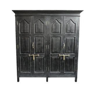 Antique Colonial Large Storage Armoire Cabinet For Sale