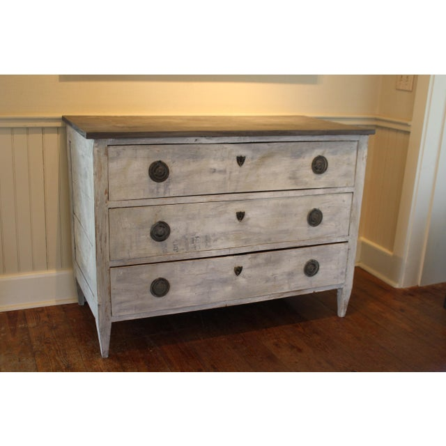 3 drawer chest with faux stone painted wood top from France.