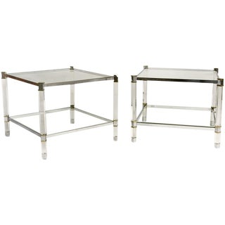 Pair of Karl Springer Lucite Tables For Sale