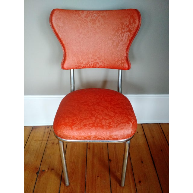Mid-Century Modern Retro 1950s Vinyl & Chrome Dining Chairs - Set of 4 For Sale - Image 3 of 10