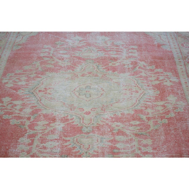 """Shabby Chic Vintage Turkish Oushak Hand Knotted Organic Wool Fine Weave Rug,5'5""""x9'3"""" For Sale - Image 3 of 6"""