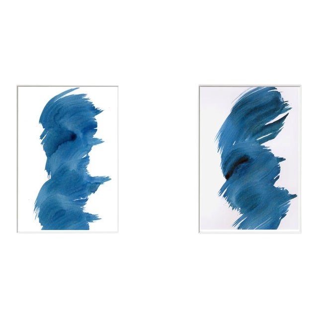 """Blue Fever"" Modern Abstract Watercolor Matted Paintings - a Pair - Image 1 of 4"