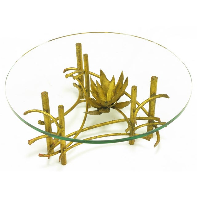 Brutalist Gilt Iron Lotus Coffee Table For Sale - Image 4 of 8