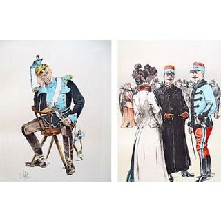 French Cavalry Officer Prints, 1893 - A Pair For Sale