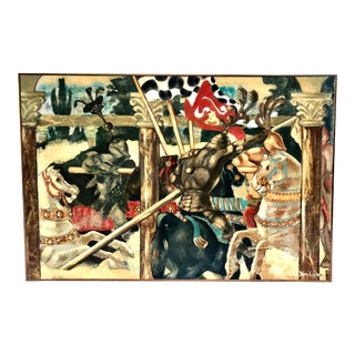 1970s Vintage Knight Joust Match Signed Painting For Sale