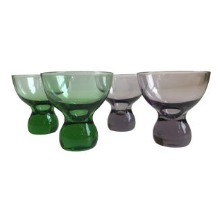 Vintage Mid-Century Modern Green and Purple Cordial Glasses - Set of 4