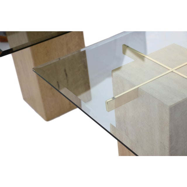 Travertine Brass & Glass End Table - Image 9 of 10