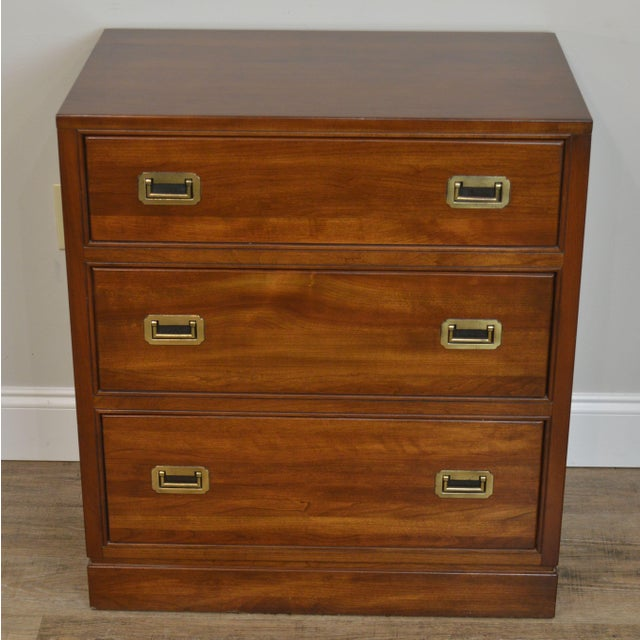 Ethan Allen Ethan Allen Campaign Style Pair Solid Cherry 3 Drawer Chests Nightstands For Sale - Image 4 of 13