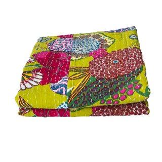 "Vtg Kantha Bedspread Throw Cotton Blanket Gudari Twin 90"" by 60"" For Sale"