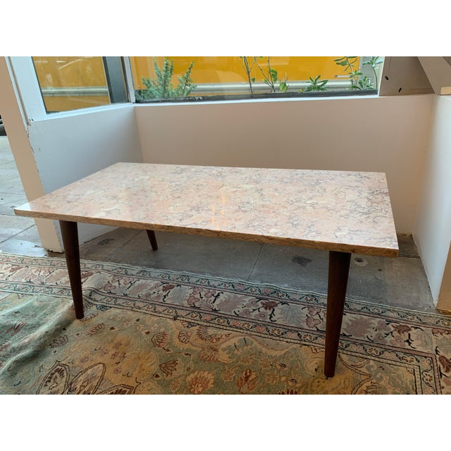 Mid-Century Modern Pink Marble Coffee Table For Sale - Image 12 of 12