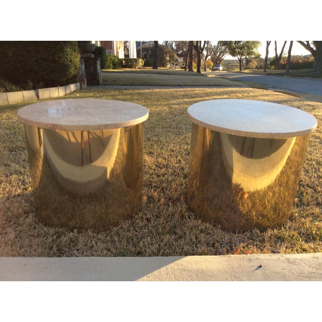 1970s Italian Paul Mayen Travertine Top Minimalist Cylinder Tables - a Pair For Sale - Image 9 of 9