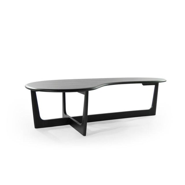 Biomorphic coffee table newly redone in an organic, stain / scratch resistant matte espresso finish.