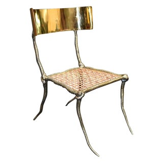 "Sculptural ""Snake"" Design Brass Desk or Bedroom Chair For Sale"