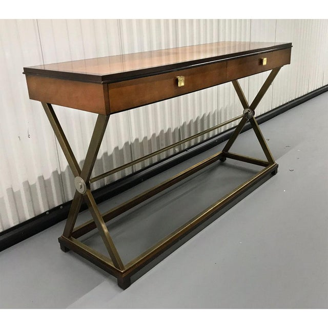 Mid-Century Modern Vintage Hickory-White Burl and Brass Console For Sale - Image 3 of 12
