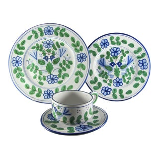 Sigma Taste Setter Italy Blue Love Bird Service for 4 Hand Painted Dinnerware - 16 Piece Set For Sale