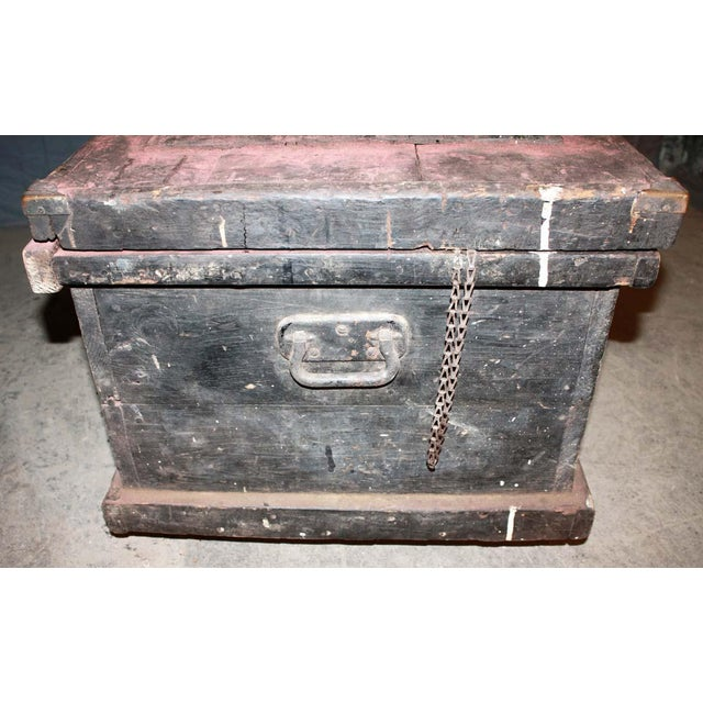 Antique 34.25 In. Distressed Wooden Black Trunk on Wheels For Sale - Image 4 of 9