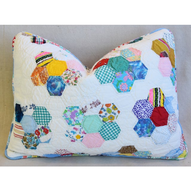 Feather American Patchwork Quilt Feather/Down Pillow For Sale - Image 7 of 7