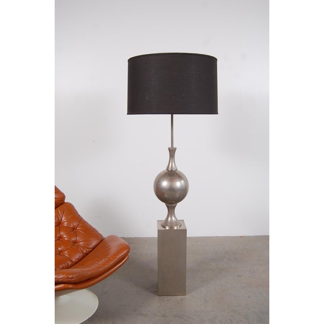 Mid-Century Modern Philippe Barbier Nickel Plated Floor Lamp From Paris For Sale - Image 3 of 12