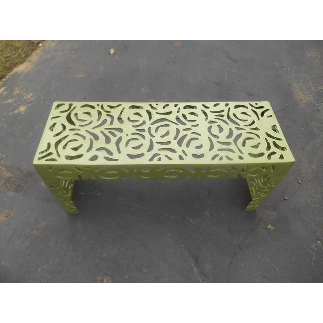 2010s Contemporary Pistachio Iron Patio/Garden Bench For Sale - Image 5 of 9