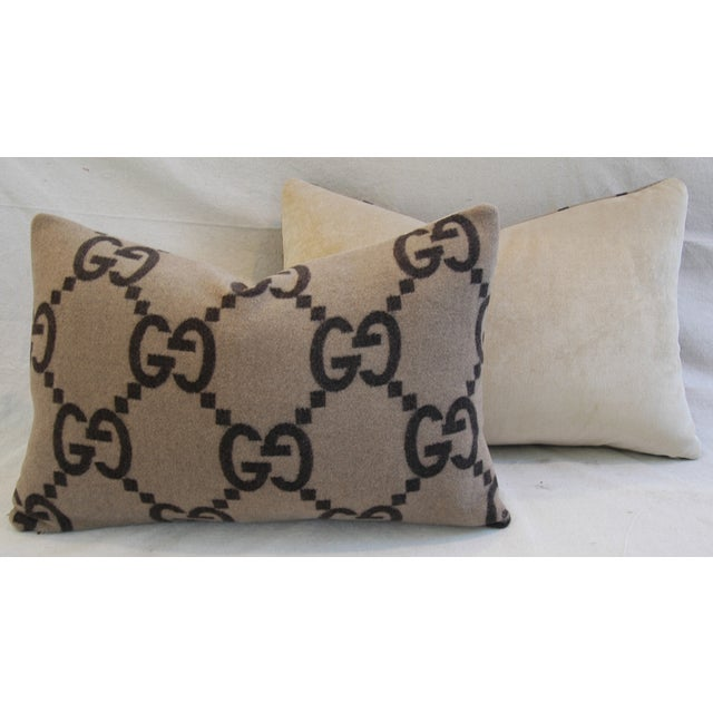 """Brown 23"""" X 16"""" Custom Tailored Gucci Cashmere & Velvet Feather/Down Pillows - Pair For Sale - Image 8 of 11"""