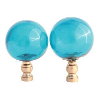 Ocean Blue Blown Glass Lamp Finials - a Pair For Sale