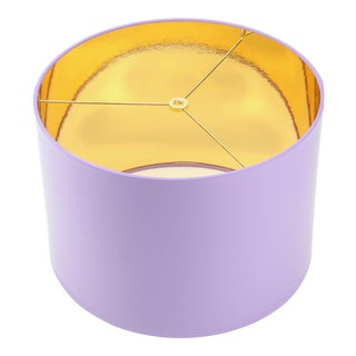 HIgh Gloss Lavender Drum Lamp Shade With Gold LIning For Sale