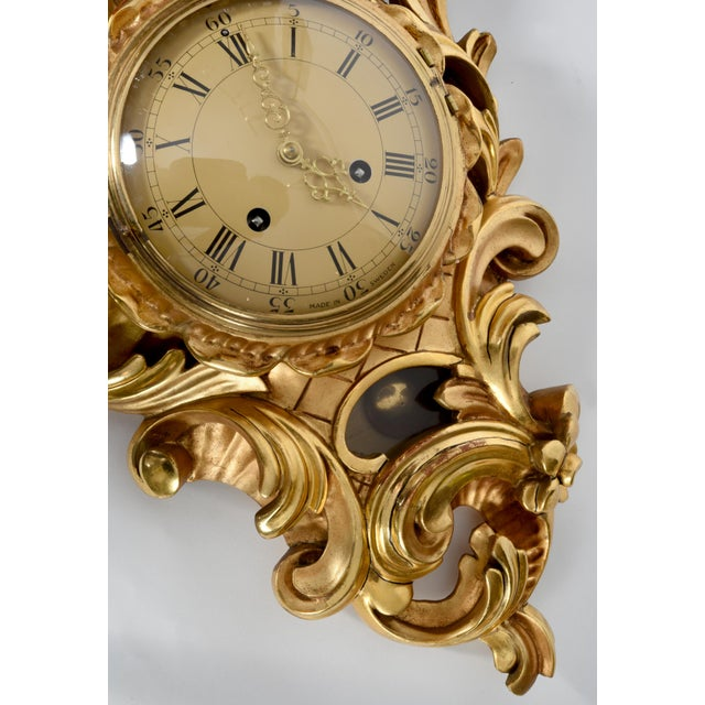 1930s Vintage Swedish Gilt Wood Framed Wall Cartel Clock For Sale - Image 5 of 8
