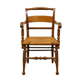 Late 20th Century Vintage Thomasville Furniture Welsh Cherry Collection Dining Arm Chair For Sale