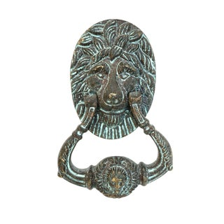 Vtg Hollywood Regency Bronze Lion Head Door Knocker | Ornate Exterior Architectural Salvage | Decorative Cabinet Hardware For Sale