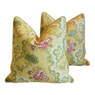 "Custom Scalamandre Silk Lampas Feather/Down Pillows 24"" Square - Pair"
