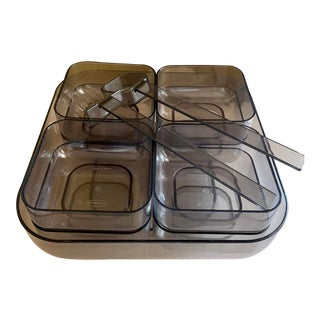 1970s Smoked Gray Lucite Mediterranean Cypriot Mezzé Stackable Serving Set - Set of 11 For Sale