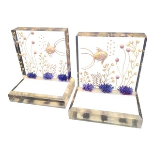 1960s Vintage Lucite Aquarium Bookends - A Pair For Sale