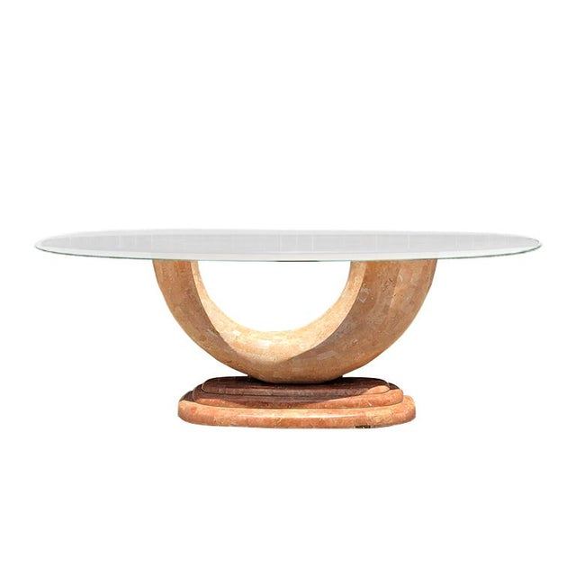 Gold Pink Marble Serpentine Dining Table With Oval Glass Top and Sculptural Waterfall Base Attributed to Karl Springer For Sale - Image 8 of 10