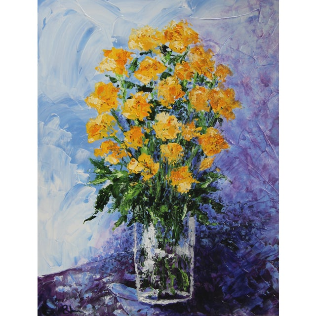 Yellow Roses Impressionist Painting by C. Plowden For Sale