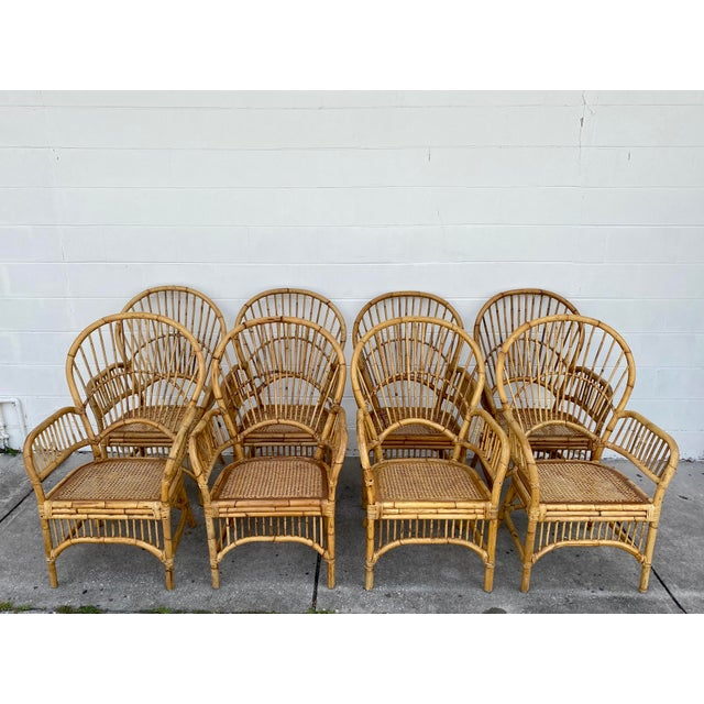 Mid-Century Modern Vintage Rattan Fan Back Chairs- Set of 8 For Sale - Image 3 of 13